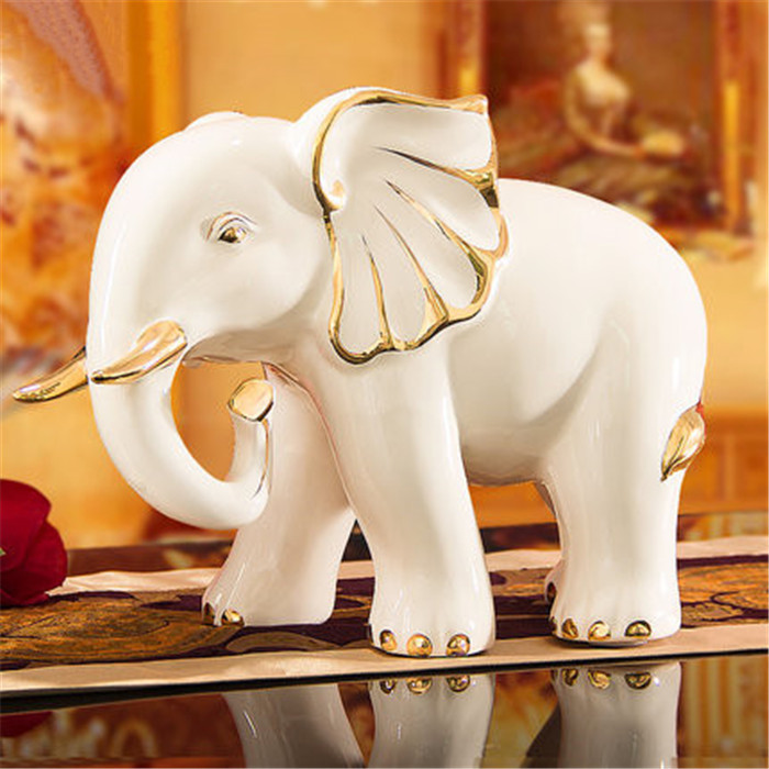 creative beige modern elephant sculpture hand paint gold line for homes decoration ornaments fortunate gifts