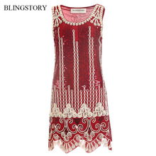BLINGSTORY Vintage Sequin Embroidery Sleeveless Summer Robe Vestido Club  1920s Flapper Dress Feminino Dropshipping KR3062-2 a50bea7c76bf