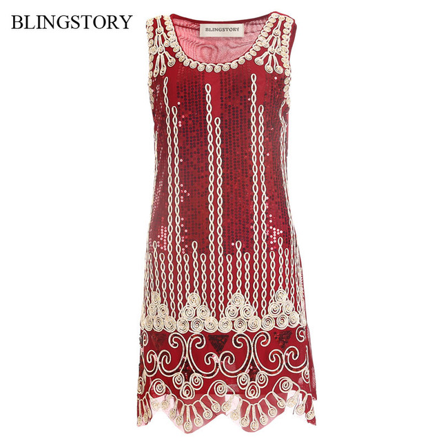 1fecf18f67a BLINGSTORY Vintage Sequin Embroidery Sleeveless Summer Robe Vestido Club  1920s Flapper Dress Feminino Dropshipping KR3062-2