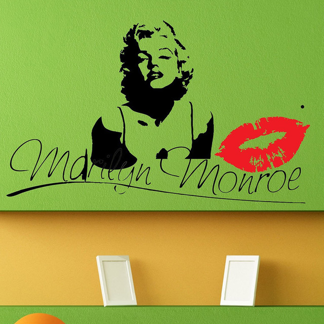 Poomoo wall sticker marilyn monroe kiss wall decal stickers decor easy removable sticker size small 15inchx24inch