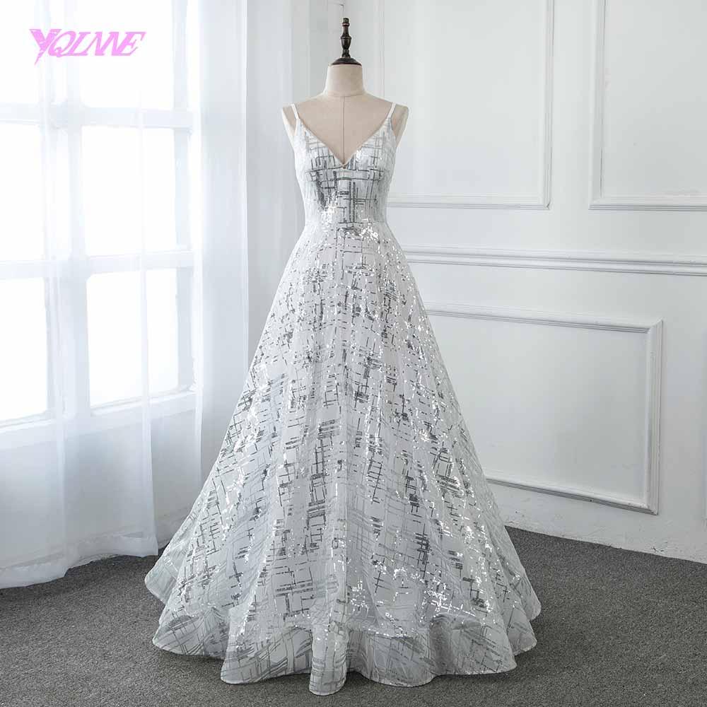 YQLNNE 2019 Silver Sequins Long Prom Dresses Formal White Aline Dress