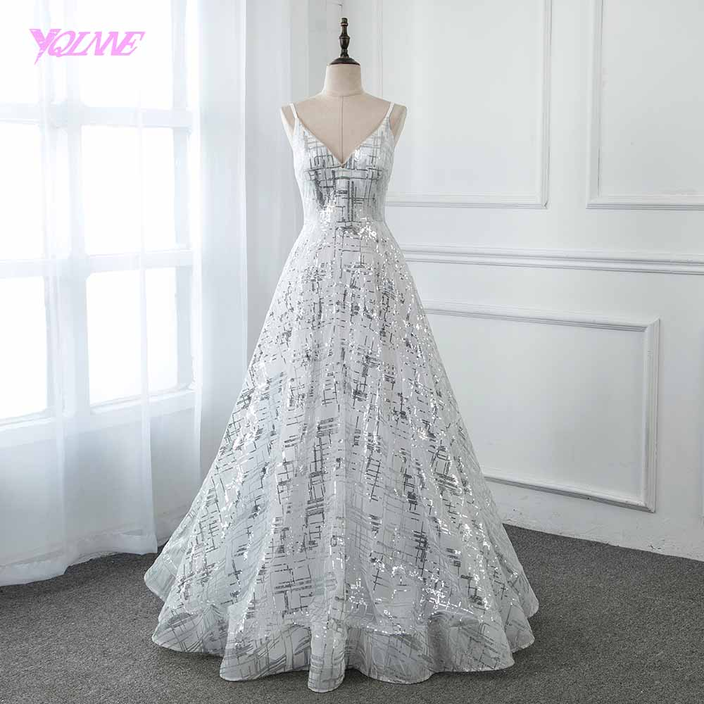 YQLNNE 2019 Silver Sequins Long   Prom     Dresses   Formal White Aline   Dress