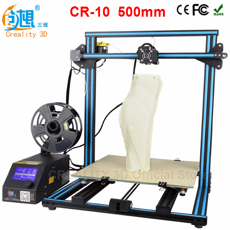 CREALITY 3D Print Size 500*500*500mm Metal CR-10 Pulley Version 3D Printer DIY Kit Aluminum Heated Bed+Borosilicate Glass Plate 500