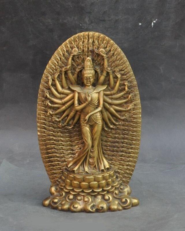 wedding decoration Chinese buddhism brass 1000 Arms Avalokiteshvara Kwan yin Guanyin Buddha Statue