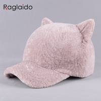 Raglaido Sheepskin Fur Winter Hats Women S Beanies Real Fur Sewing Fox Ear Hat Snow Caps