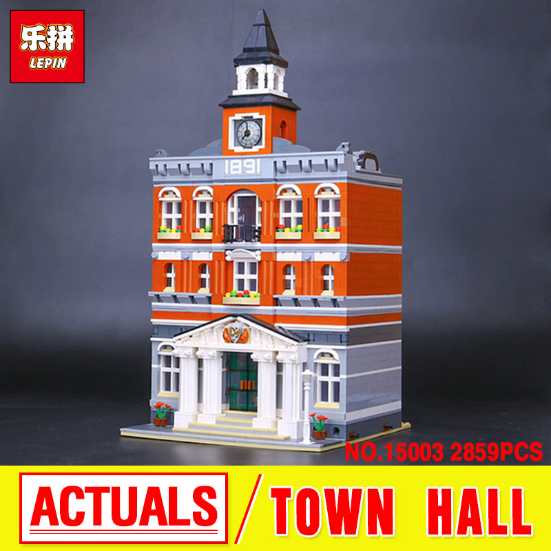 Lepin 15003 City Street  The Town Hall Model Building Block Assembling Toys Kits  compatible with 10224 Educational Toy Gifts lepin 15003 2859pcs city creator town hall sets model building kits set blocks toys for children compatible with 10024