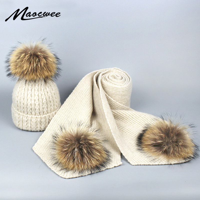 Real Raccoon Fur Pom Pom Hat and Scarf Set for Women Winter Fashion Long Knit Wool Fur Scarf Warm twist striped   Skullies     Beanies