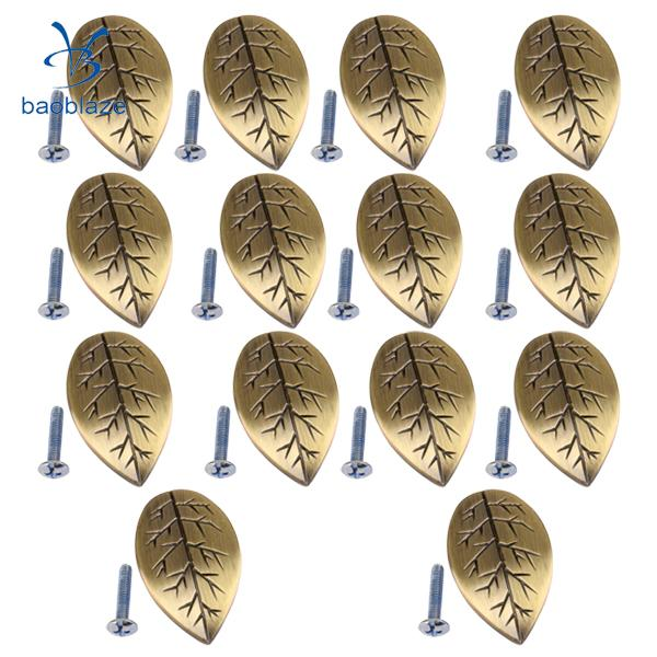 14 Pieces Leaf Shaped Cabinet Cupboard Door Handle Drawer Cabinet Bin Handle Pull Knobs Hardware with Installation Screws 2pcs set stainless steel 90 degree self closing cabinet closet door hinges home roomfurniture hardware accessories supply