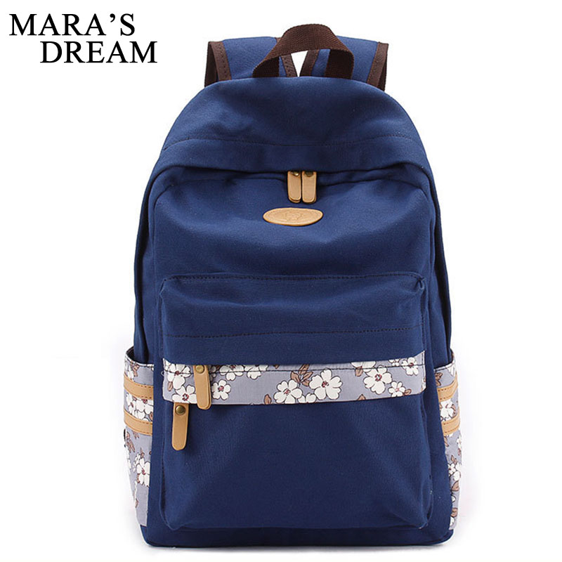 Mara's Dream 2017 Women Canvas Backpack School Bags For Teenagers New Printed Floral Backpacks Casual Travel Bags Shopping Bag purple flowers printed dream teenagers backpack fresh preppy adorable sthdents school bags fashion travel hiking computer bag