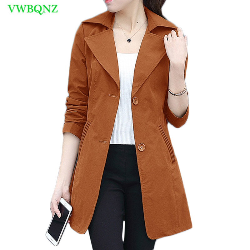 Long Coat Female 2018 Spring Autumn Fashion korean Wild Windbreaker coats Women's Casual Khaki Cardigan   Trench   Coats Tide A826