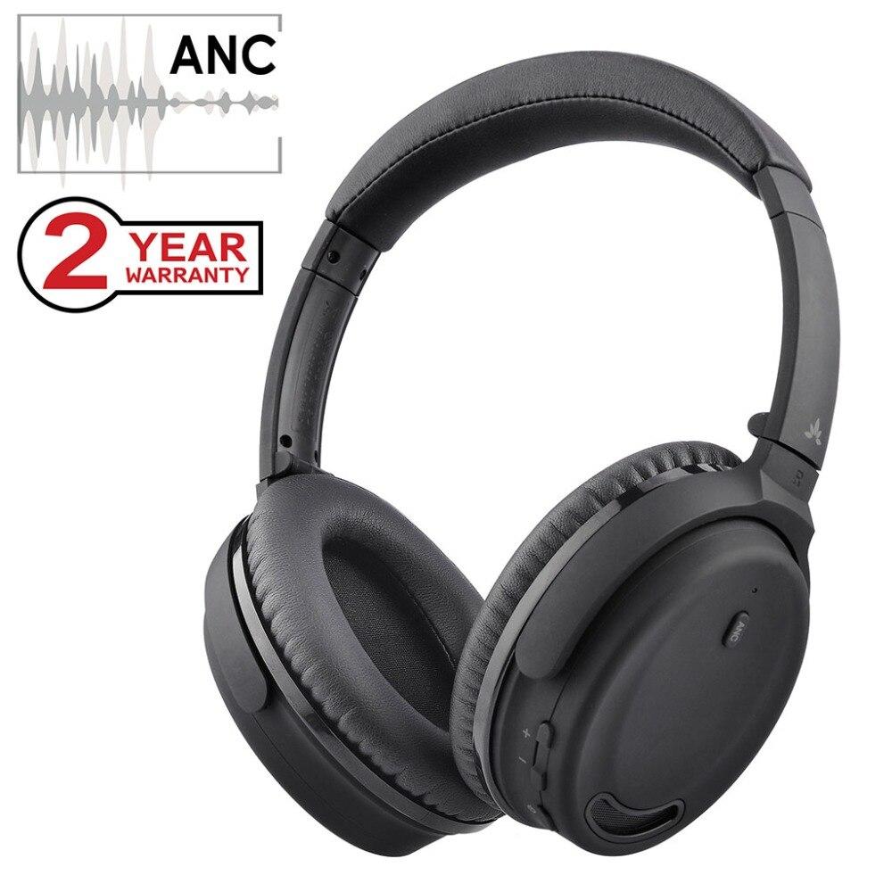 Active Noise Cancelling Avantree Bluetooth 4.1 Fones De Ouvido Microfone, Sem Fio com fio Confortável ANC Sobre A Orelha fone de Ouvido Estéreo Dobrável
