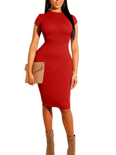 1pcs Womens Dress Vestido Short Sleeve Slim Bodycon red blueDress Tunic Crew Neck Casual Pencil New Arrival