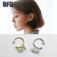 BFQ S925 Sterling Silver Clip Earrings For Women Nice Gold Color Shell Clip On Earrings Oorbellen