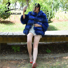 FURSARCAR Women Natural Real Fur Coat Top Quality 60 CM Length Winter Fox Jacket With Collar Female Silver