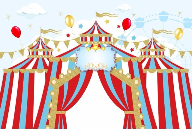 7x5ft balloons carnival circus tent stage entrance stripes custom