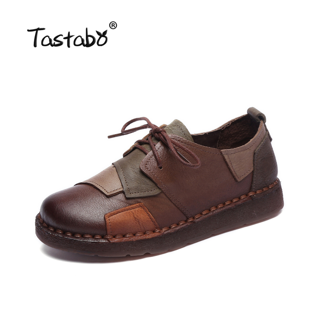 Tastabo Genuine Leather Flat Shoe Pregnant Women Shoe Mother Driving Shoe Female Moccasins Women Flats Hand-Sewing Shoes 1