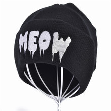 Fashion Meow Knit Cap Men Women Casual Hip Hop Hats Knitted Wool Skullies Beanies Hat Warm Winter Hat For Women Beanie цена в Москве и Питере