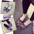 New 2016 Spring Autum  Graffiti Painting Women Brand Flat Shoes Elegant Casual Canvas Shoes