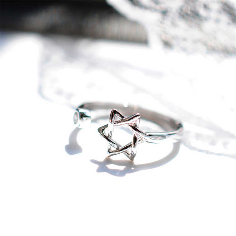 Новинка 2017 года серебряная звезда кольца с цирконом звезда кольца для Для женщин открытым звезда перстни 925 Простые Модные