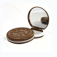 Women Makeup Tool Pocket Mirror Mini Dark Brown Cute Chocolate Cookie Shaped With Comb Lady P27