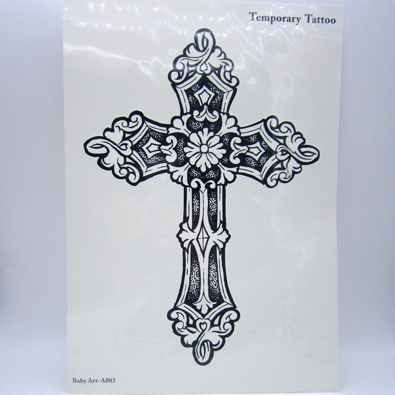 1pcs Big Cool Mens Cross Tattoos,Beautiful Arm Back Cross Waterproof Large Temporary Tattoo Stickers For Men 30*21cm 5