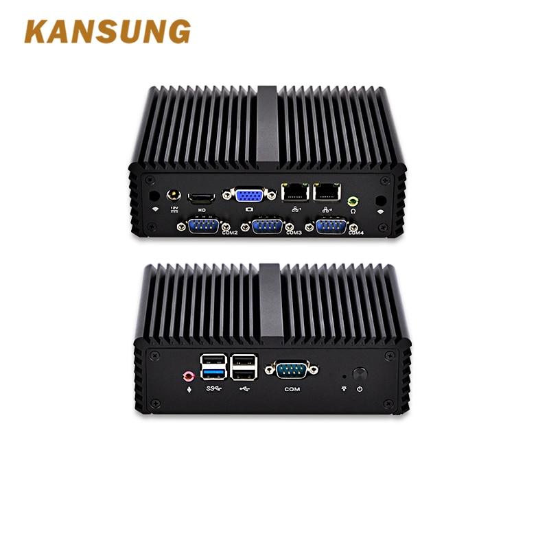 KANSUNG Fanless Mini Pc Intel Celeron J1900 4 RS232 Serial Port Dual Gigabit Linux Barebone Windows 10 Mini Pc Nettop