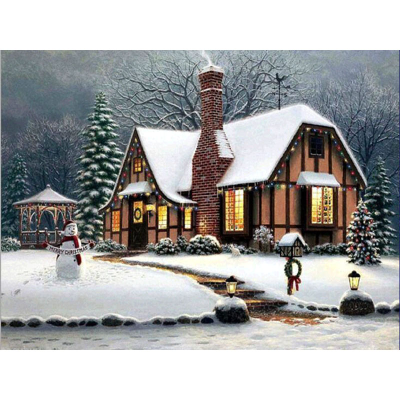 Diamond Painting Beautiful Snow Winter Landscape Diamond Embroidery All Drill Rhinestone Mosaic Picture YY