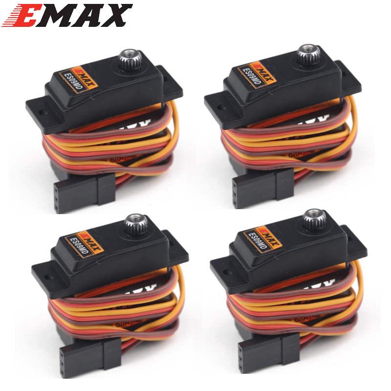 4set/lot EMAX ES09MD Dual-bearing Special Swash Metal Digital Servo For TREX Align 450 Helicopter(es08ma es08md es08a) 1pc original emax es08ma ii mini metal gear analog servo 12g 1 8kg high speed upgrade es08ma