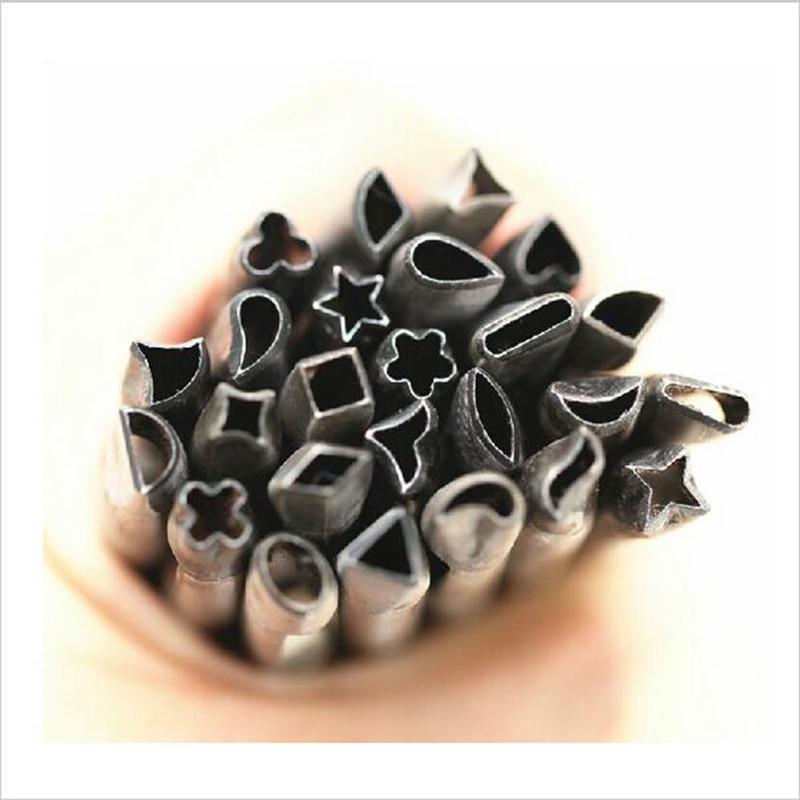 20 pcs/lot pour 5mm artisanat cuir bricolage outil de poinçon en cuir spécial perforateur trou Rectangle fleur aiguë Angle + Pad