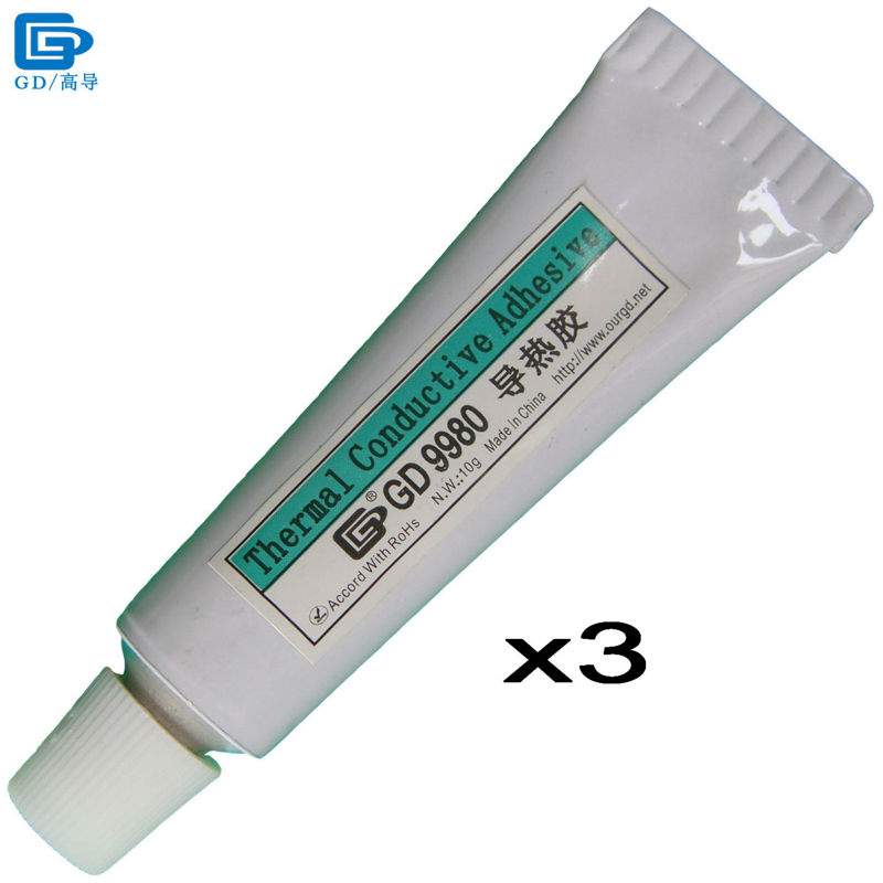GD9980 Thermally Conductive Adhesive Cement Glue Heat Sink Plaster Silicone 3 Pieces Net Weight 10 Grams White For LED VGA ST10