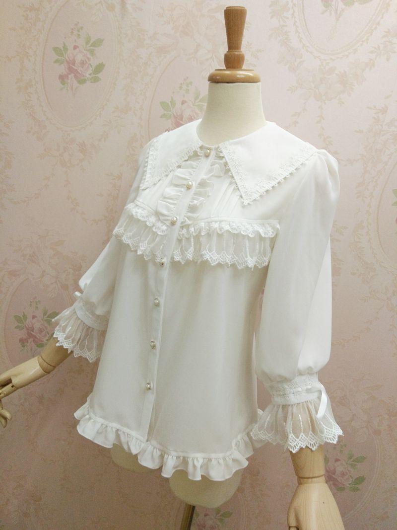 100% réel blanc col carré dentelle reliure lolita cosplay blouse/lolita dentelle broderie ébouriffée manches évasées