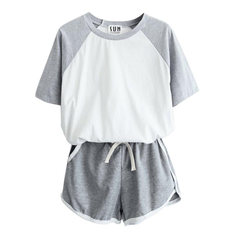 2 Pcs/Set Summer Women T Shirt Short Sleeve Tracksuit Casual Short Sleeve T Shirt + Shorts