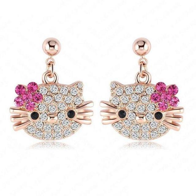 1pair Cute Lovely Hello Kitty Stud Earring For Girls Rose Gold Plate