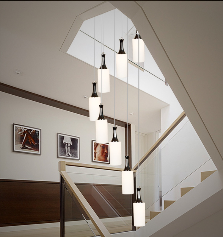 Stairs lights staircase pendant lights modern minimalist restaurant lamp personality glass pendant lamp rotating staircase FG45 porcelain ceramic stairs lights ceramic pattern chinese pendant lights rotating staircase lamp restaurant pendant lamps za