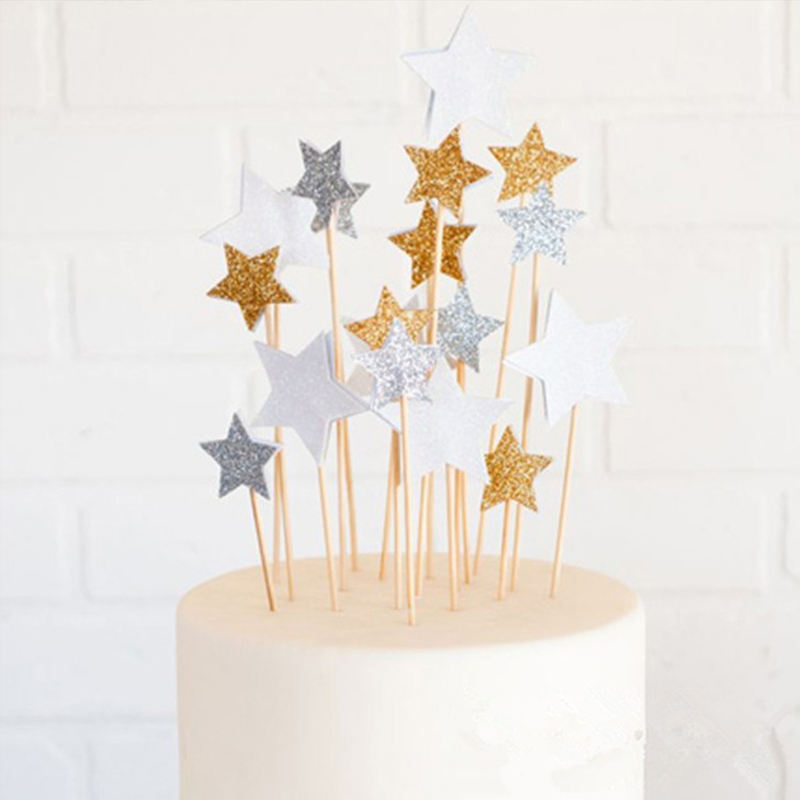Birthday-Party Topper Cake-Decoration Wedding-Supplies Glitter Star Baby Shower Gold