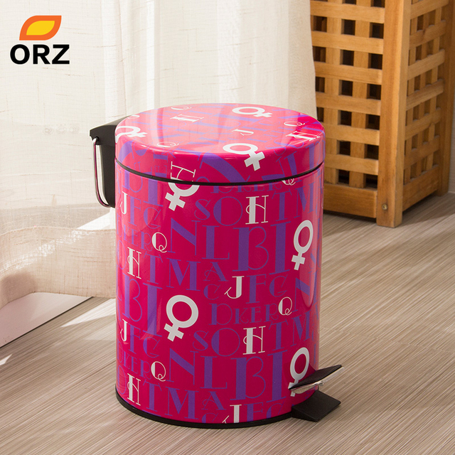 ORZ Colorful 5L Trash Can Kitchen Living Room Office Garbage Dustbin ...