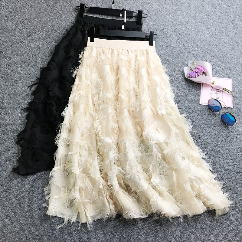 Elegant Women Fashion Fringed Feathers Skirt High Waist Hairy Pleated Middle Chiffon Skirt Pleated A-line Skirt For Women