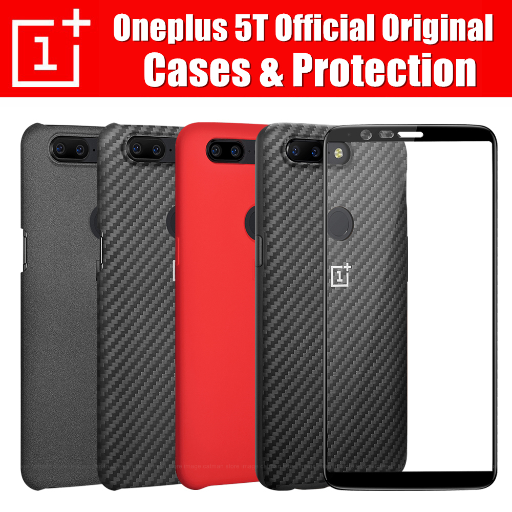Oneplus 5t Case Official 100 Original Oneplus Company Back Shell Sandstone Carbon Cover Case For One