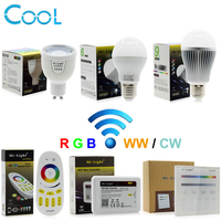 Mi Light RGBW LED Bulb Light AC86 265V GU10 5W E27 6W 9W RGBWW RGBCW Remote