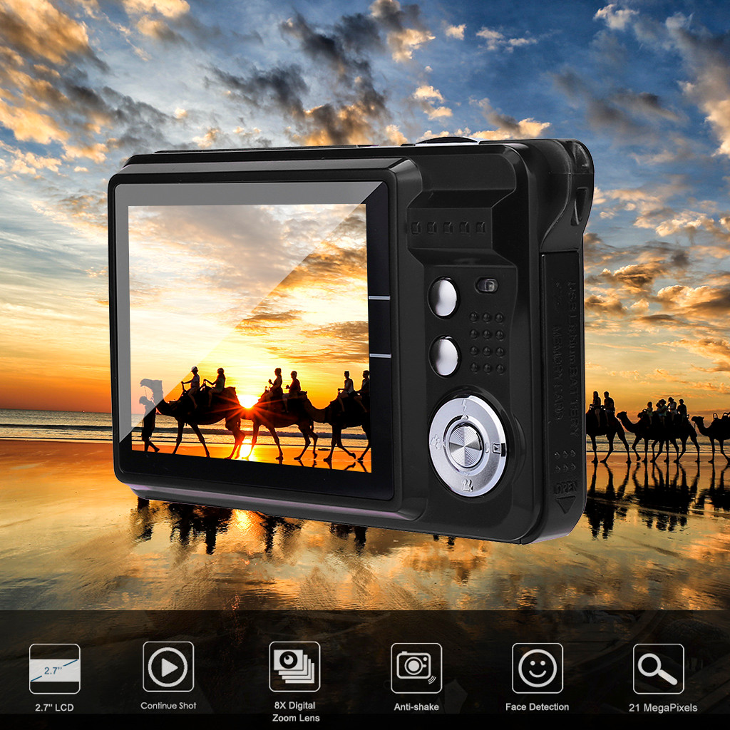 2019 2.7HD Screen Digital Camera 21MP Anti-Shake Face Detection Camcorder Black white   28#