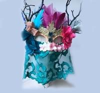 Unieke Bloemen Veer Antler Masker Cosplay Lady Bal Party Blauw Kant Sluier Maskers met Bloemen Vintage Fancy Dress