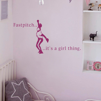 Filles Phase Mot Vinyle Mur Décor Fastpitch,... c'est un truc de filles Softball Sport Art Filles Pépinière 56 cm x 112 cm