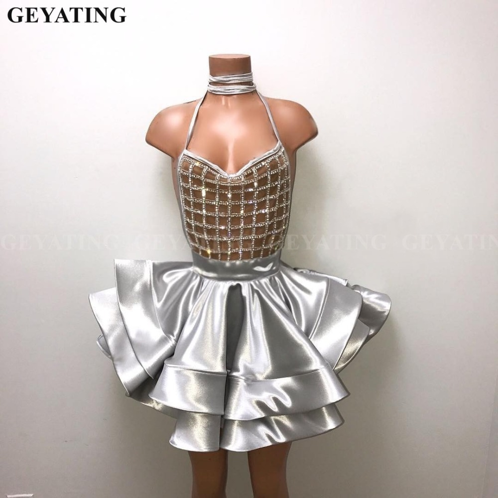Sexy Halter Backless Silver Crystal Short   Prom     Dresses   for Black Girls African Graduation   Dress   2019 Mini Cocktail Party   Dress
