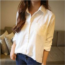 Blusa Feminino 2016 Spring autumn Vintage White Blouse Long Sleeve Shirt Women Tops Tees Chemise Femme