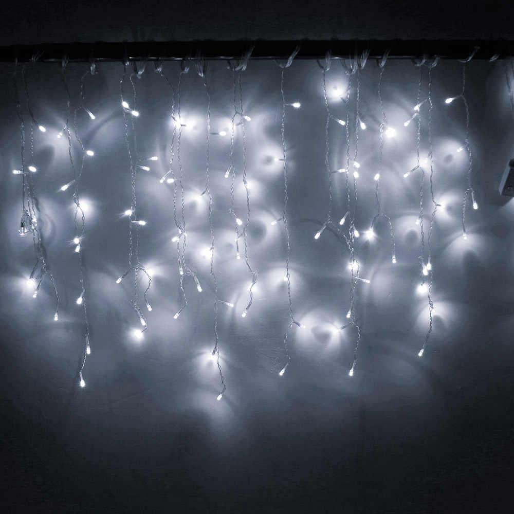 Giáng Sinh Garland LED Màn Icicle Dây Đèn 220V 4.5 M 100 Đèn LED Trong Nhà Led Giọt Đảng Vườn Sân Khấu Ngoài Trời đèn Trang Trí