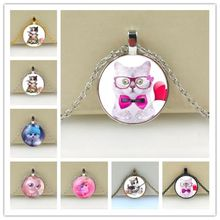 NEW Cute Cat Glass Pendant Necklace For Women Hot Sale Lovely Kids Cat Necklace Jewelry(China)