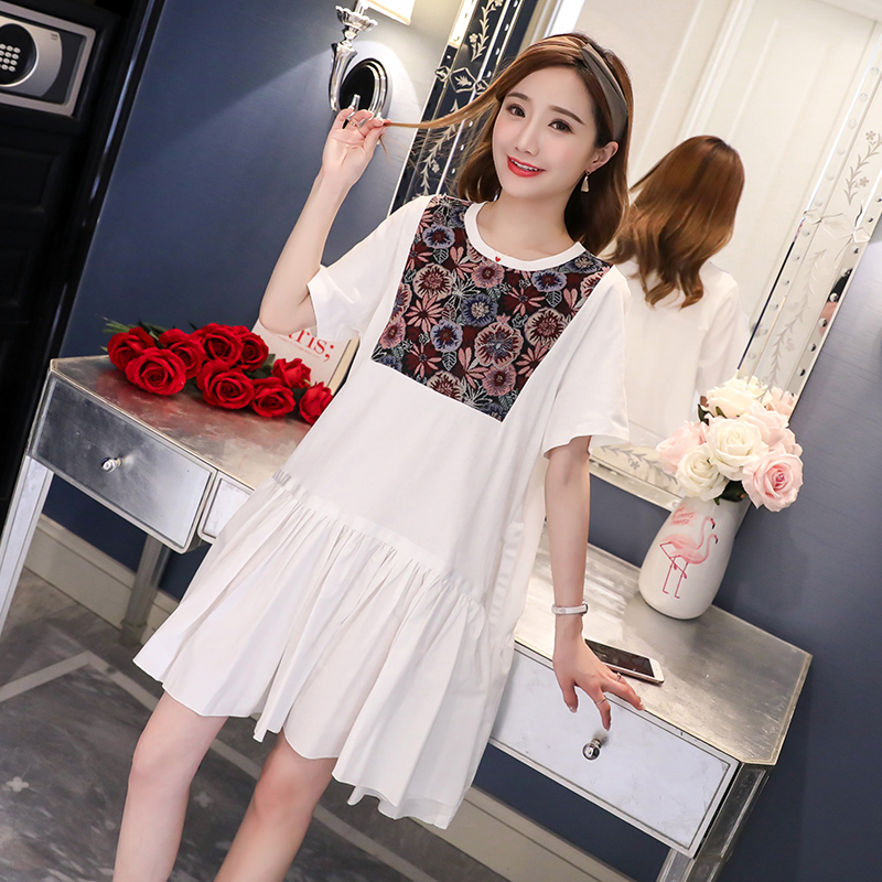 Floral Embroidery Maternity Clothes Summer Novelty Pregnancy Dress Fashion Cotton Pregnancy Clothing Of Pregnant Women