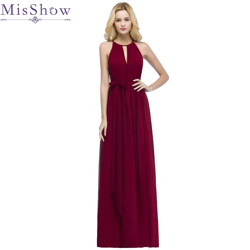 Us 34 99 40 Off In Stock Vestido De Festa Halter Hollow Out Front Chiffon Burgundy Bridesmaid Dresses With Belt Cheap Dress For Wedding Party In