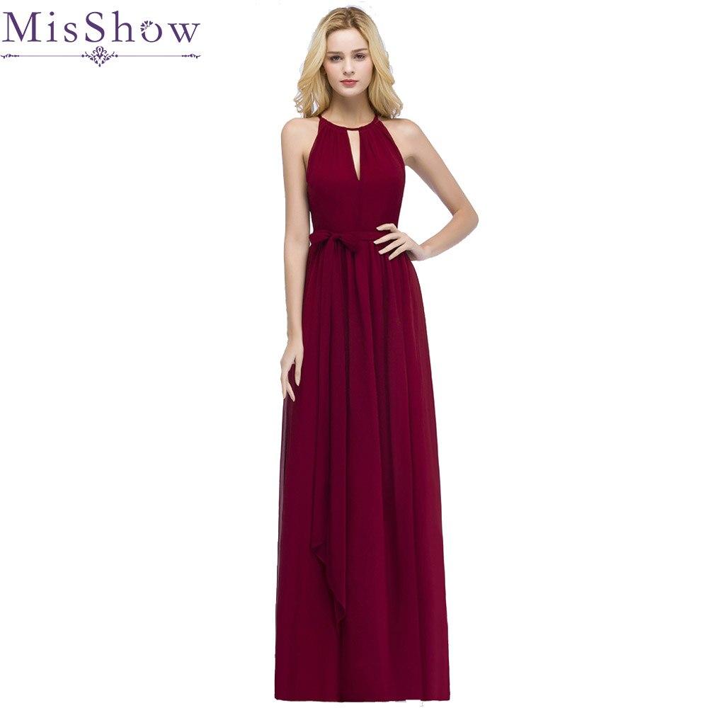 In Stock Vestido De Festa Halter Hollow out Front Chiffon Burgundy Bridesmaid Dresses With Belt Cheap