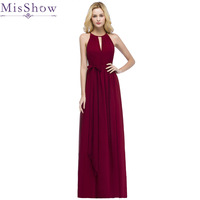 In Stock Vestido De Festa Halter Hollow out Front Chiffon Burgundy Bridesmaid Dresses With Belt Cheap dress for wedding party